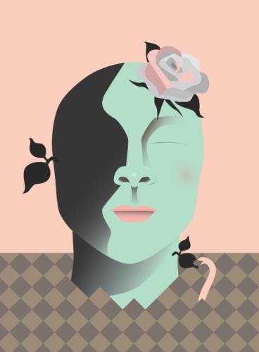 Illustration av grönt huvud med ros och blomblad från sig som sticker upp ur jorden och en mask äter av ett av huvudets blad.