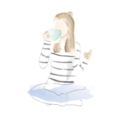 Illustration i akvarellstil föreställande tjej som sitter i skräddarställning och dricker te